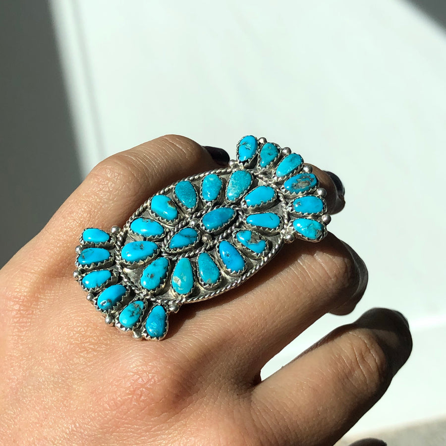 Turquoise Native Cluster Ring