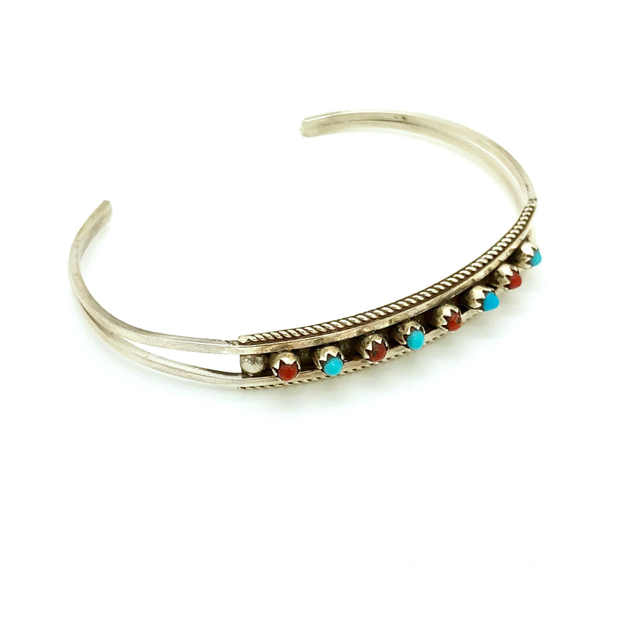 Zuni Coral and Turquoise Dot Bracelet
