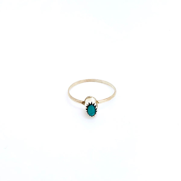 Dainty Turquoise Dot Ring