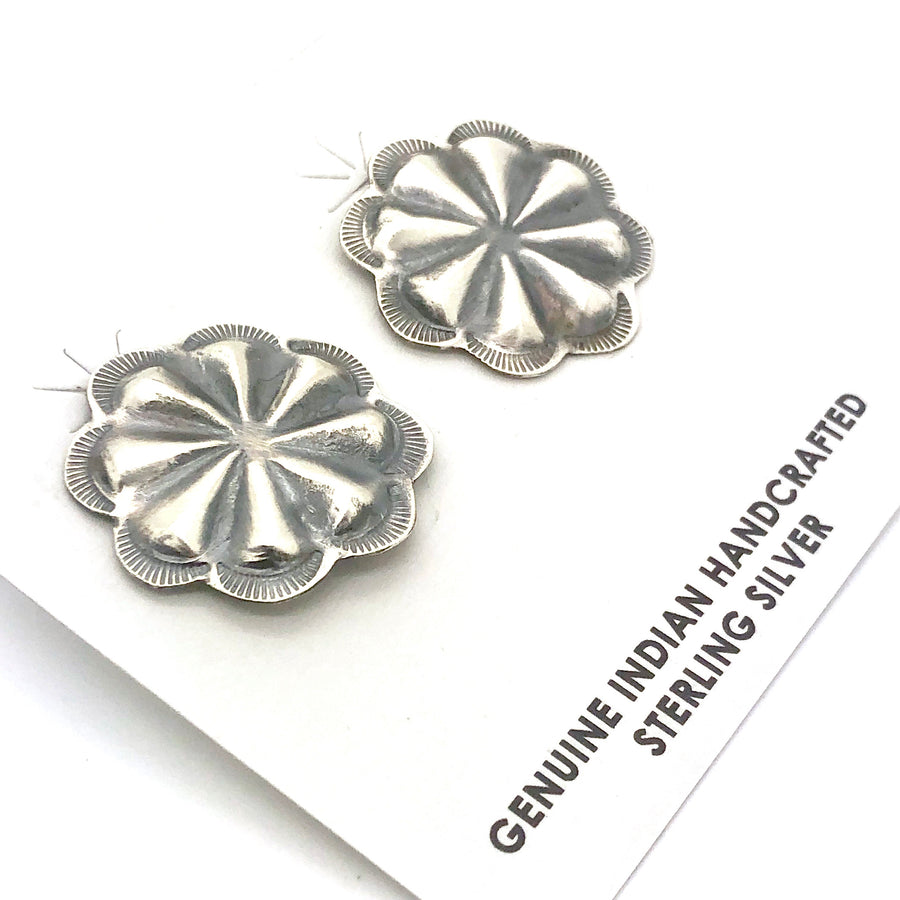 Brushed Silver Concho Earrings
