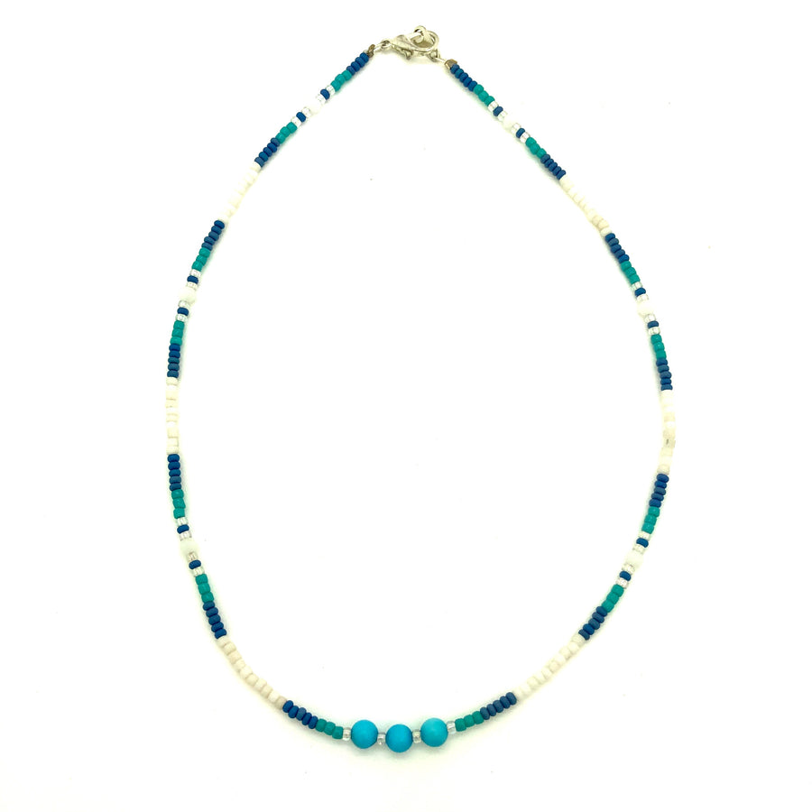 Dainty Turquoise Rivers Beaded Necklace