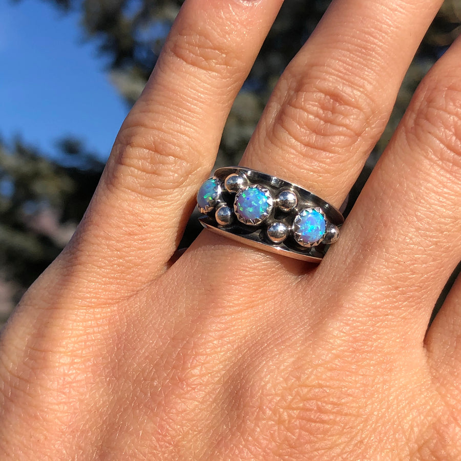 Light Blue Opal Dot Ring