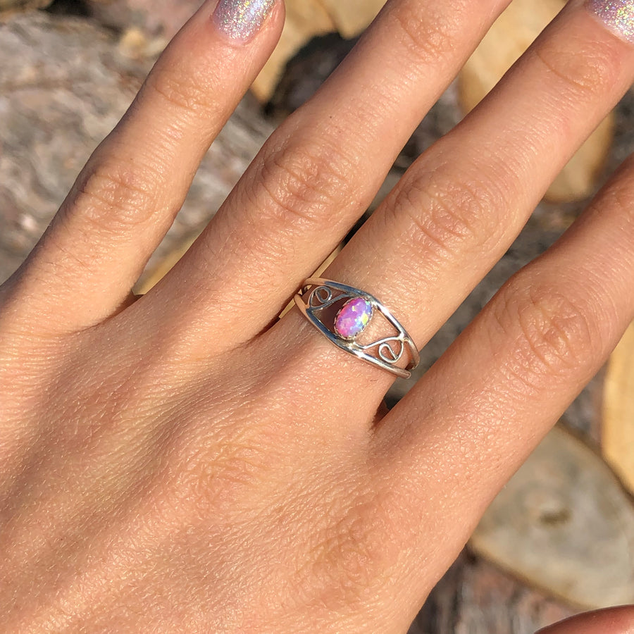 Dainty Pink Opal Ring