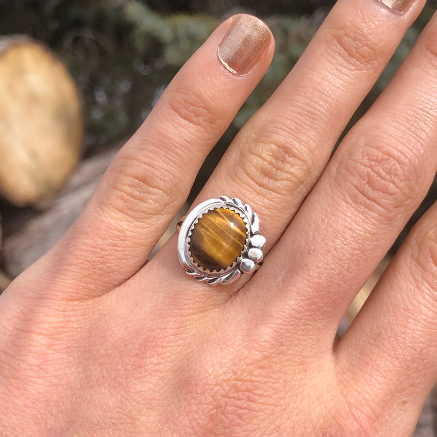 Round Tiger Eye Ring