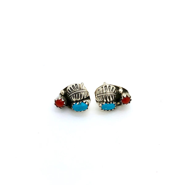 Coral and Turquoise Leaf Studs