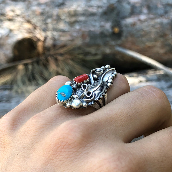 Coral and Turquoise Ring