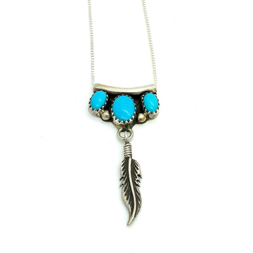 Turquoise and Feather Pendant