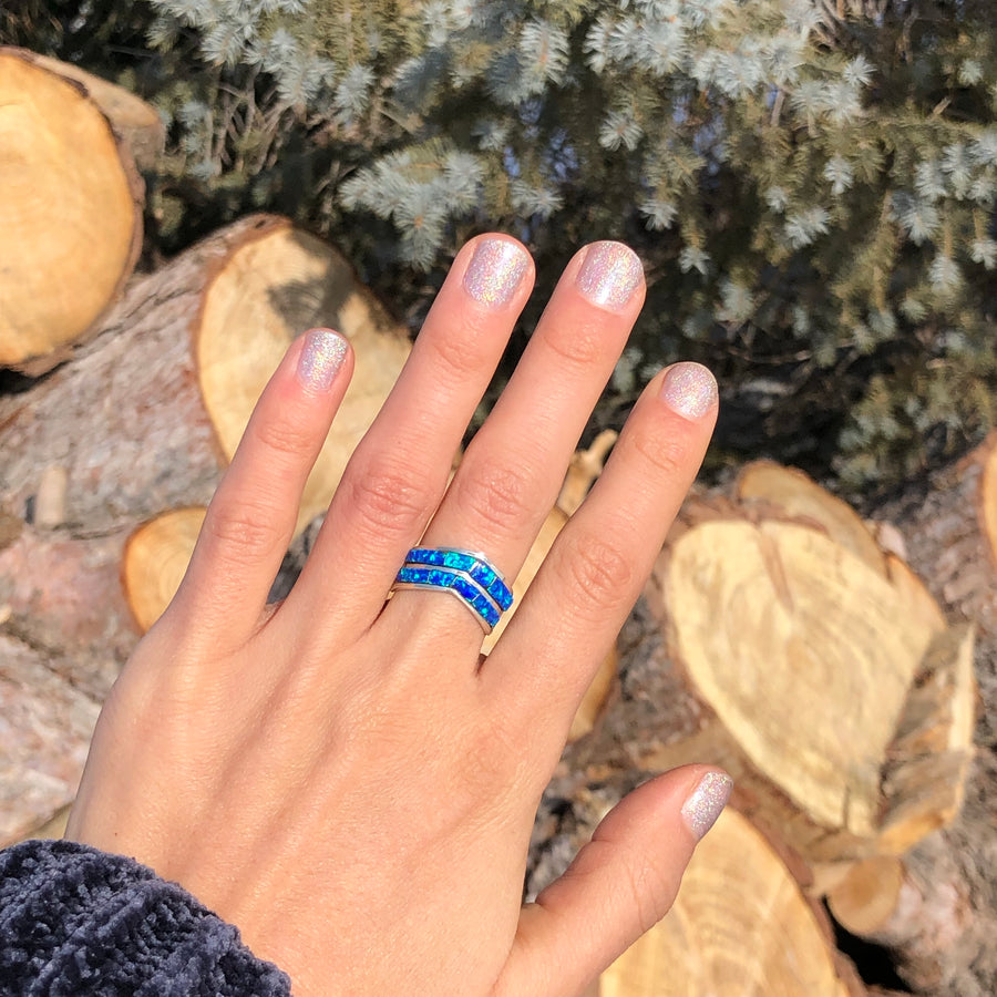 Pointy Blue Opal Ring