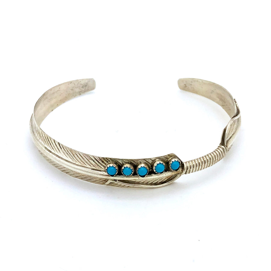 Feather and Turquoise Dot Bracelet
