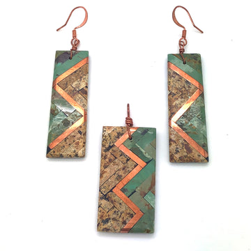 Inlay Pendant and Earrings