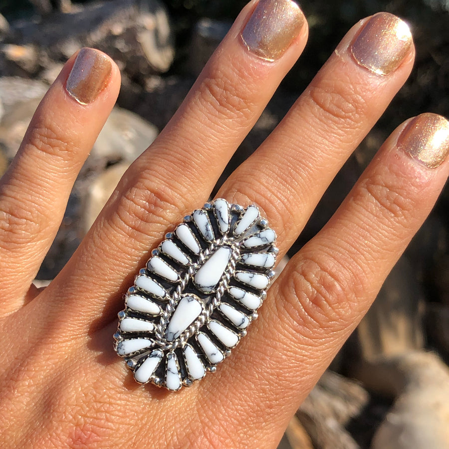 Howlite Ridge Cluster Ring