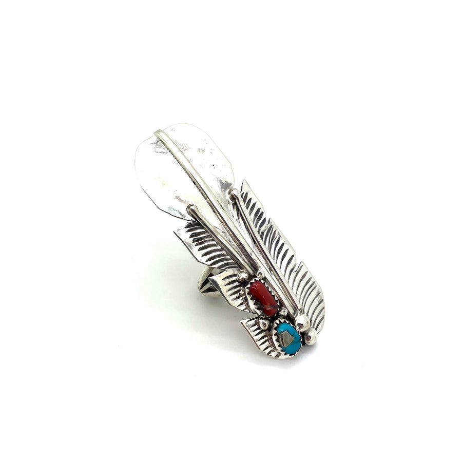 Coral and Turquoise Feather Ring