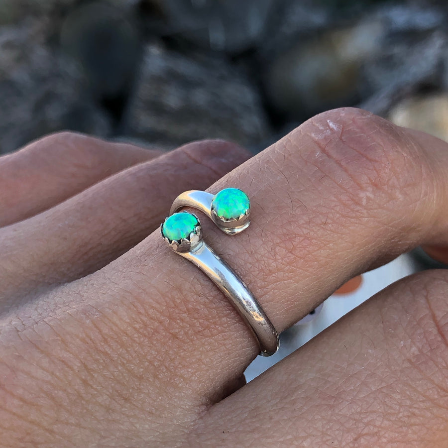 Green Opal Adjustable Ring