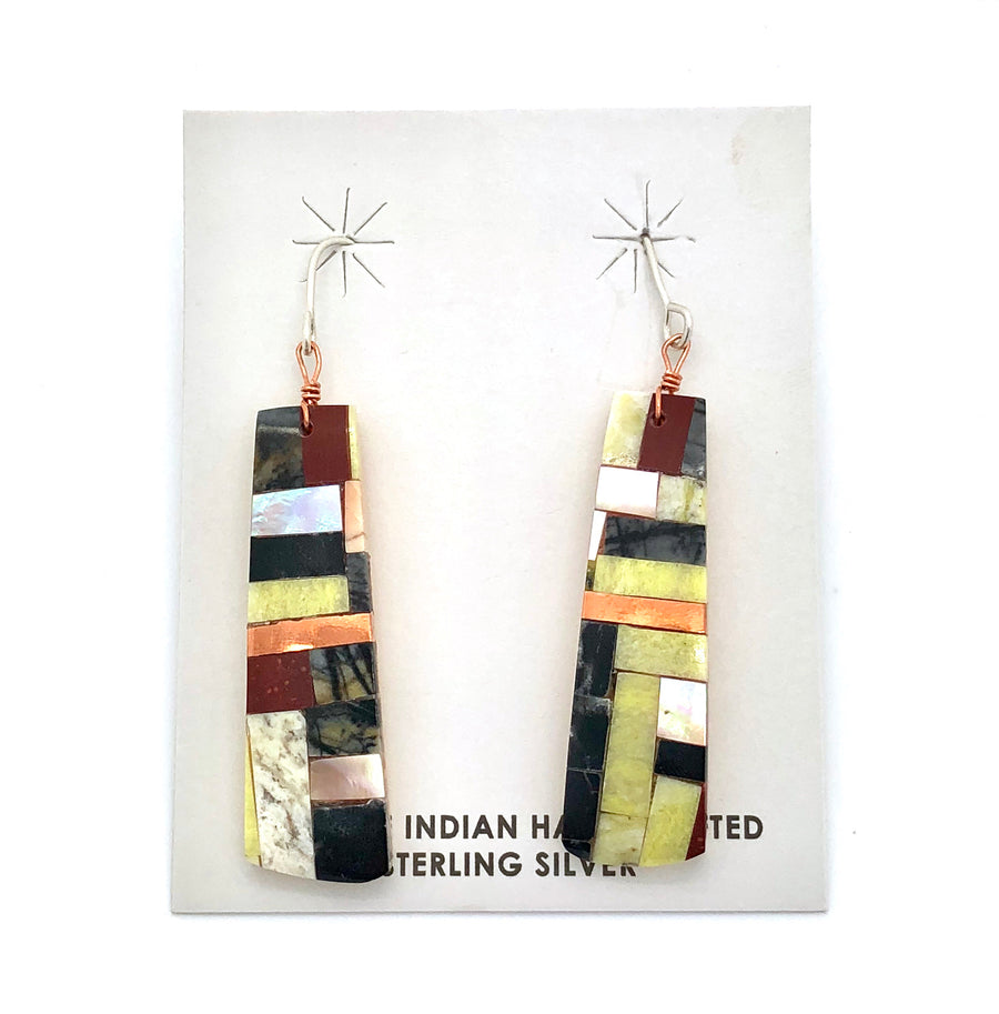 Inlay and Brass Earring