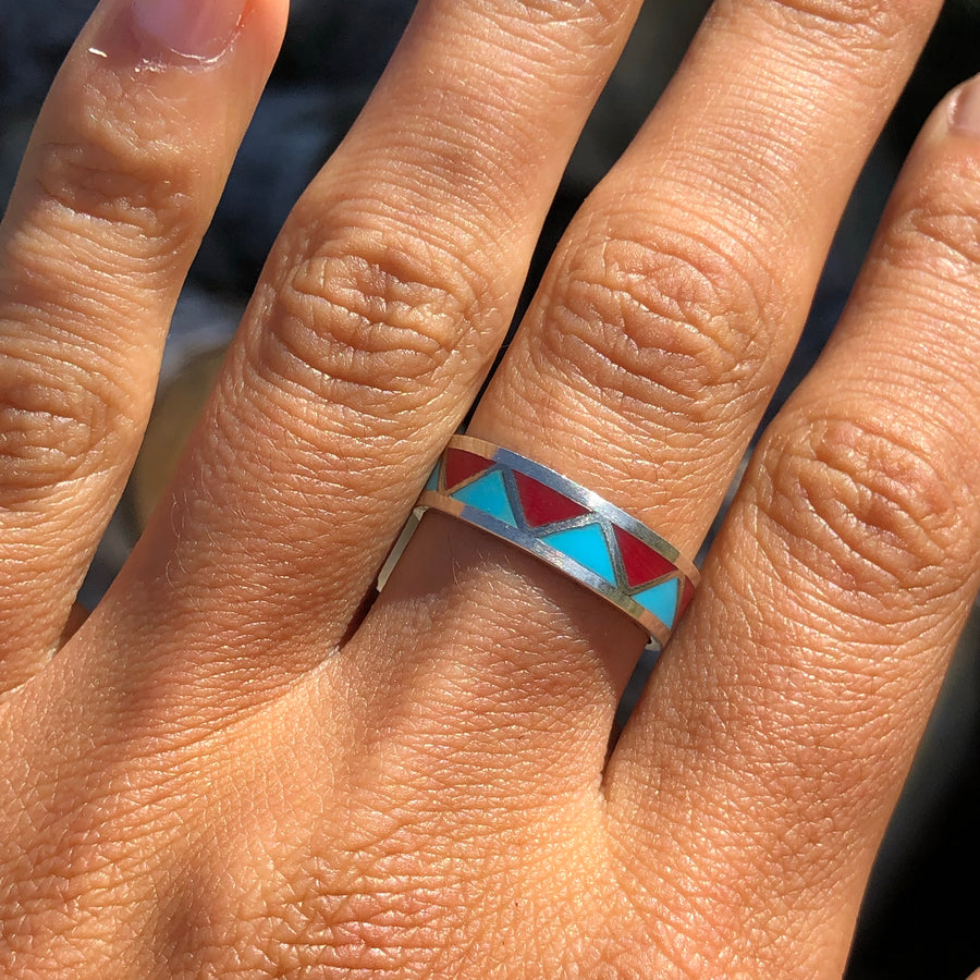 Turquoise and Coral Peak Band
