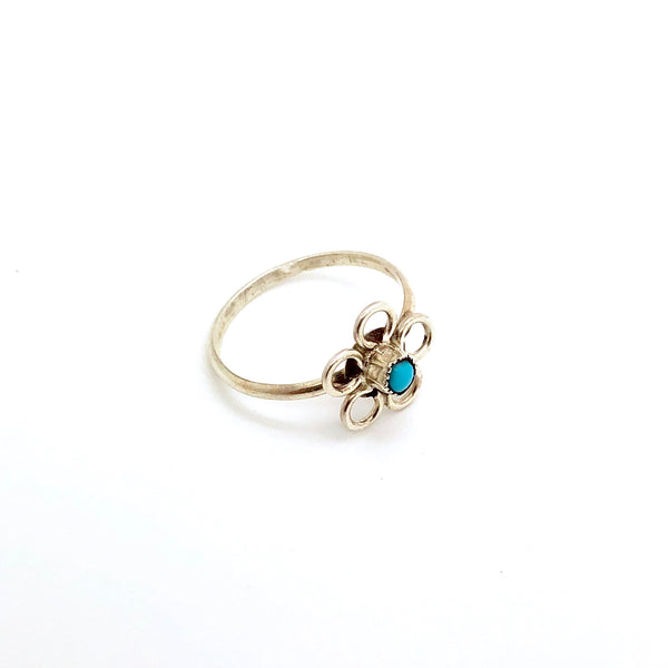 Dainty Turquoise Flower Ring
