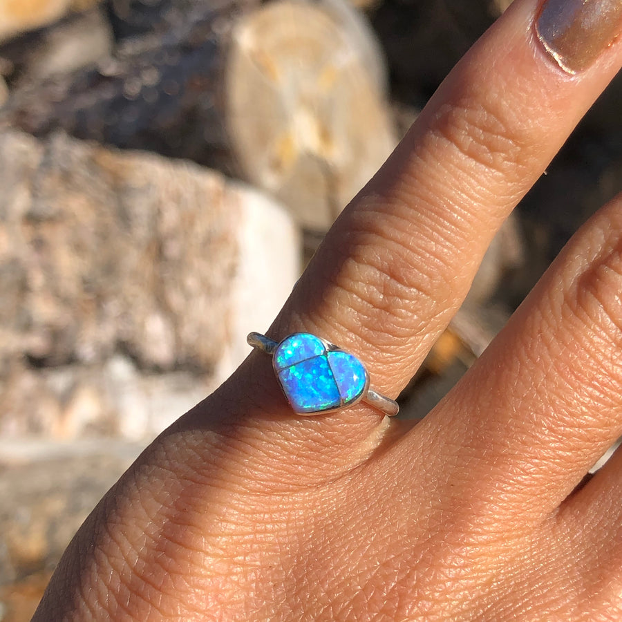 Light Blue Opal Heart Ring