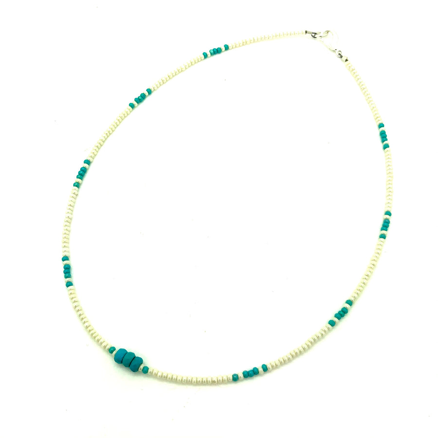 Pearlized White & Turquoise Beaded Necklace