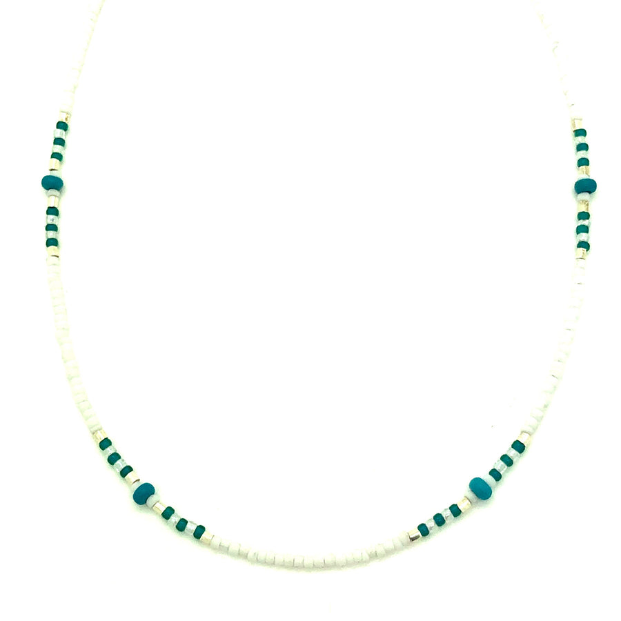 Dainty Matte White & Turquoise Beaded Necklace