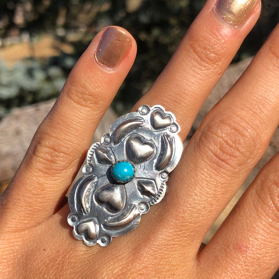 Brushed Hearts & Turquoise Ring