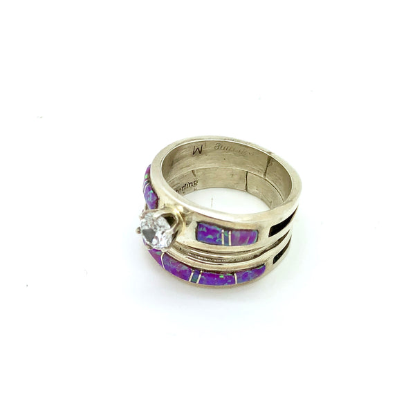 Purple Opal Wedding Band
