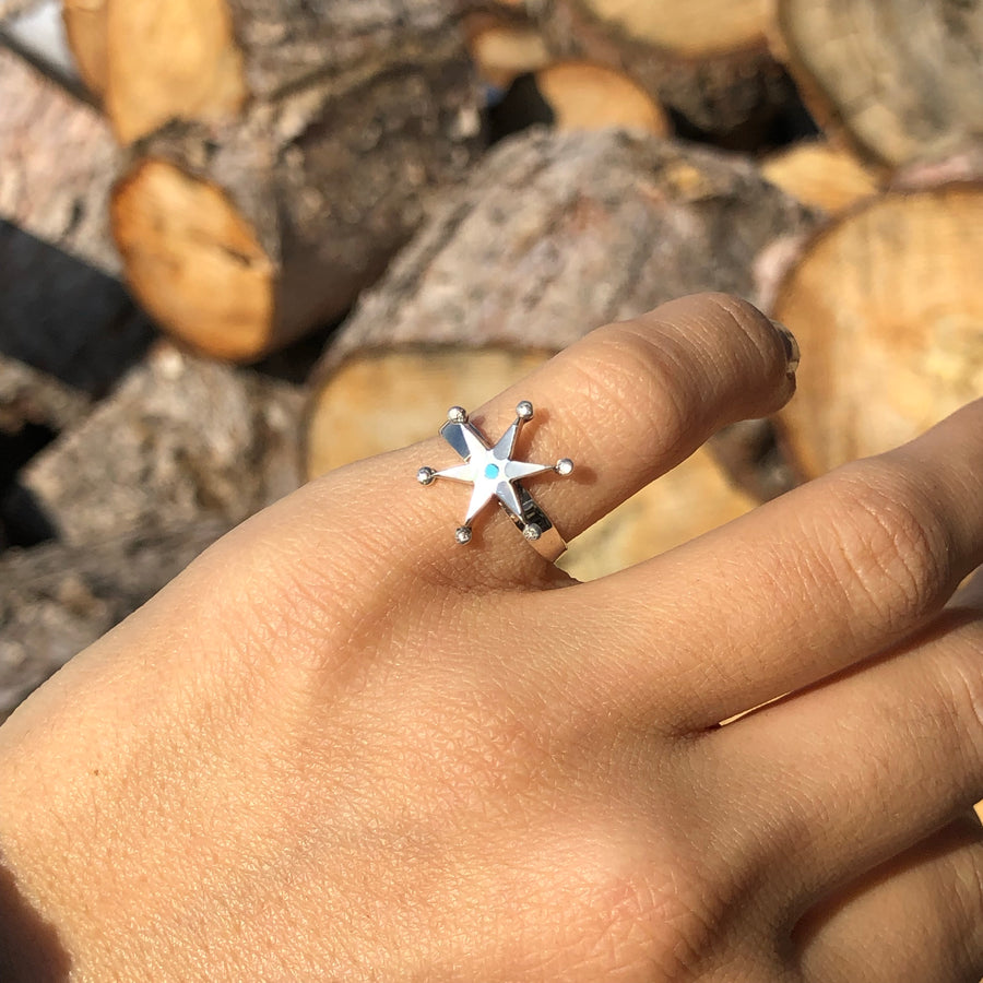 White Shell Star Ring