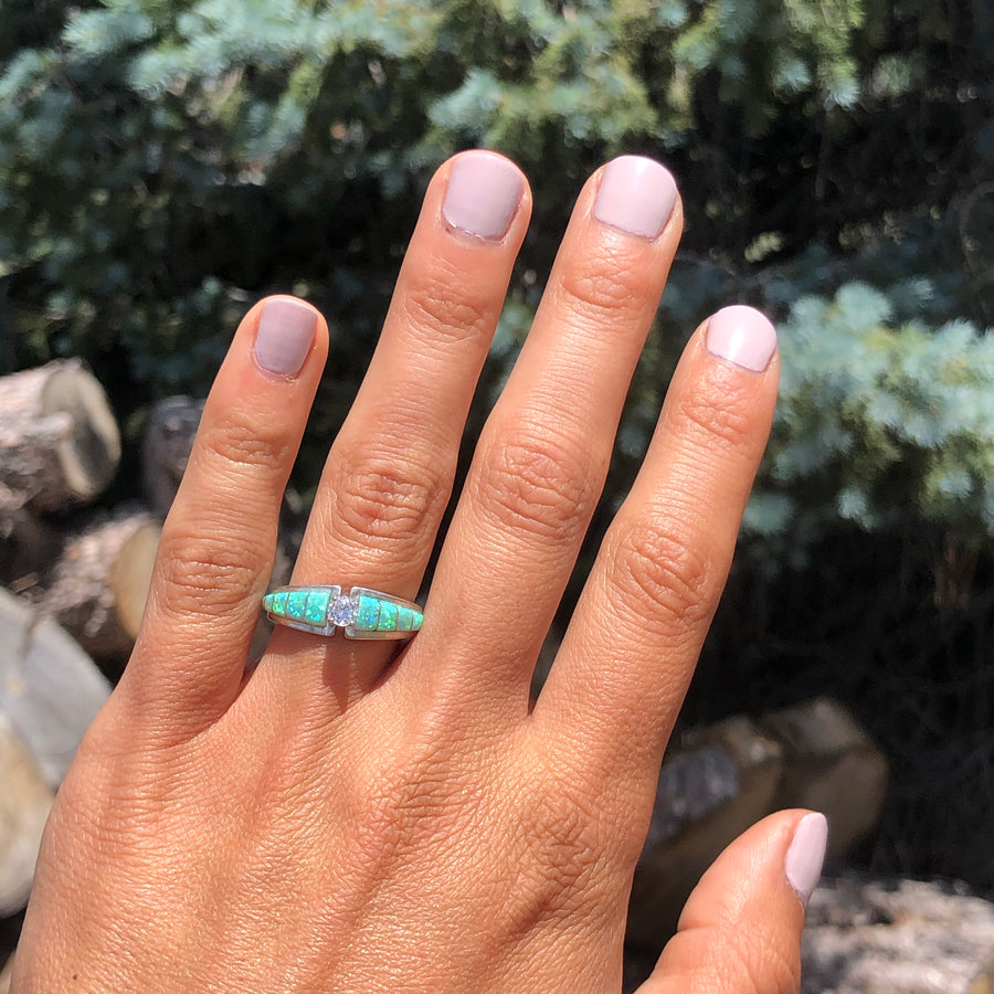 Green Opal Engagement Ring