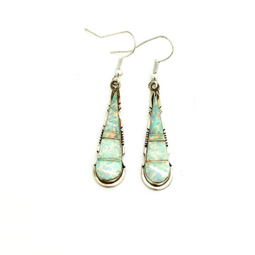 White Opal Teardrop Earrings