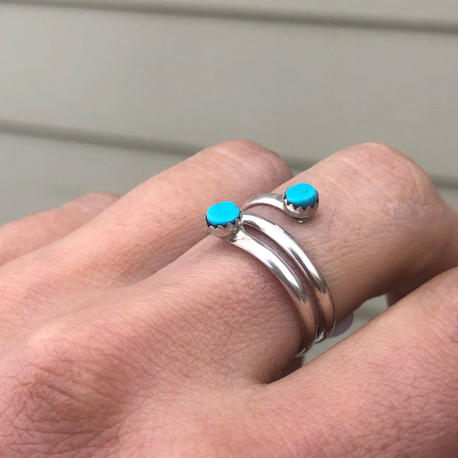 Double Turquoise Dot Ring