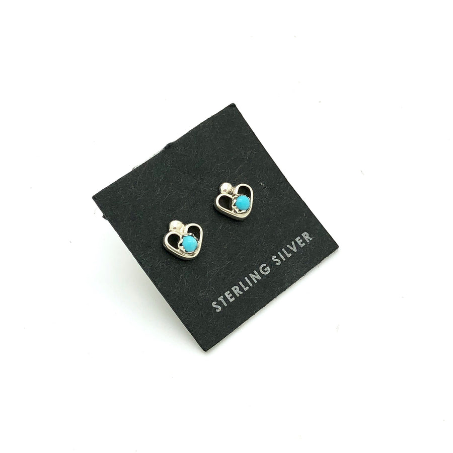 Dainty Turquoise Heart Studs