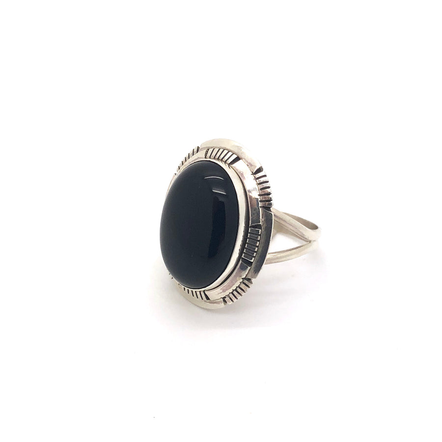 Black Onyx Oval Ring