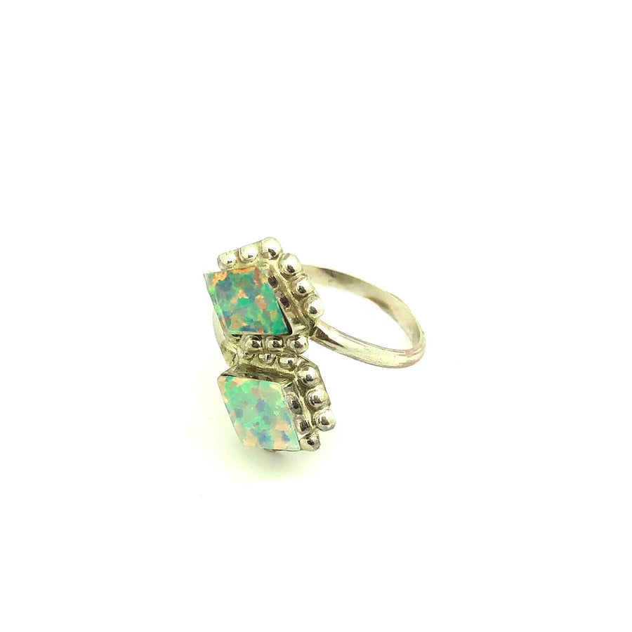 White Opal Diamonds Adjustable Ring