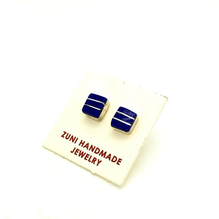 Lapis Bar Stud Earrings