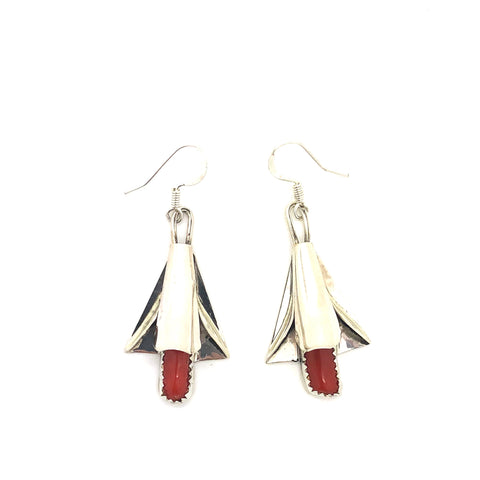 Red Coral Squash Blossom Earrings