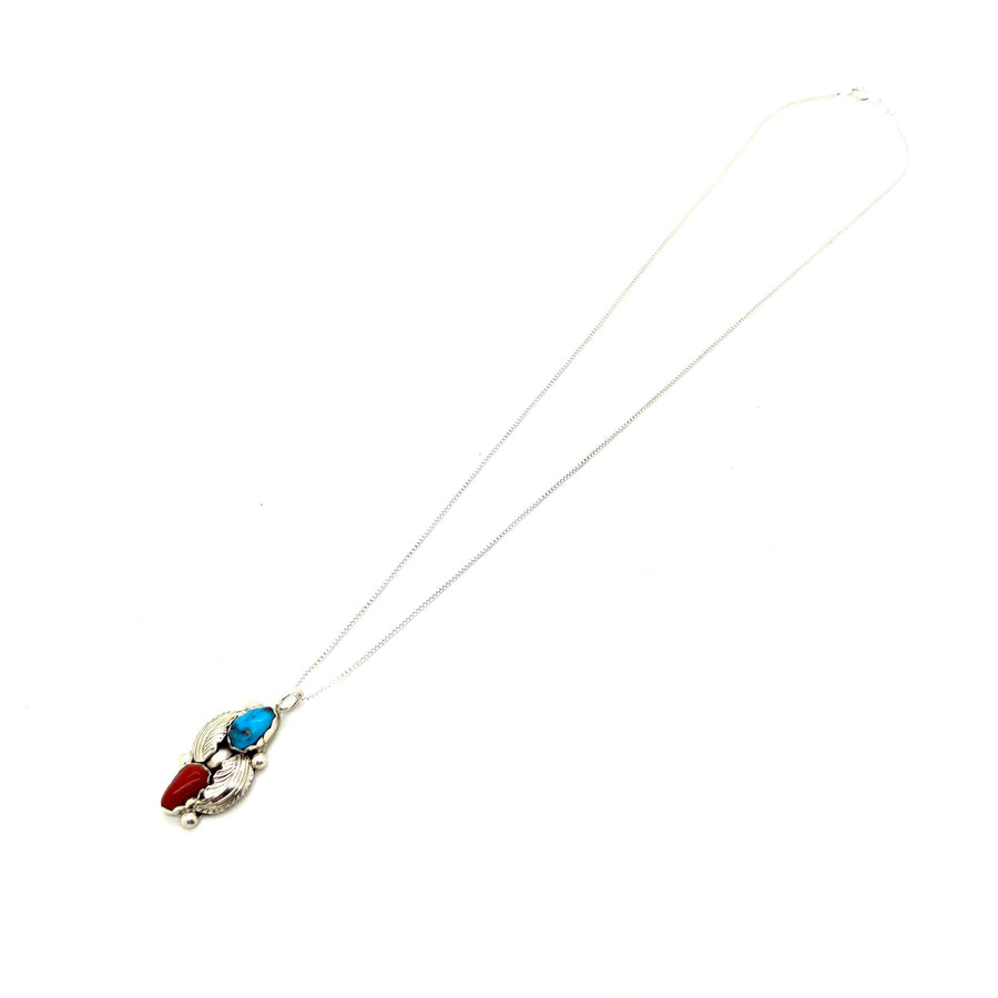 Coral & Turquoise Feather Pendant