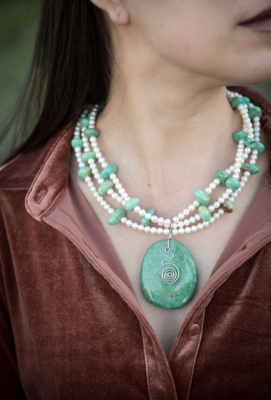Freshwater Pearls and Turquoise Necklace