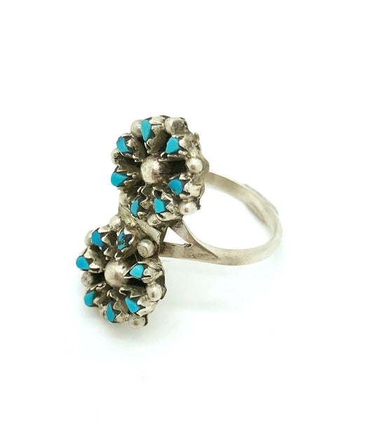 Double Turquoise Flower Ring