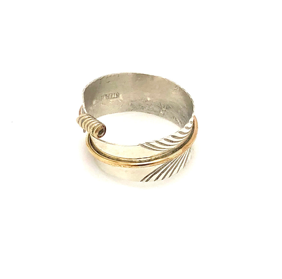 Feather & Brass Adjustable Ring