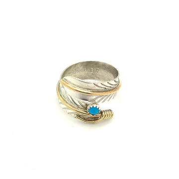 Sterling and Brass Feather Ring