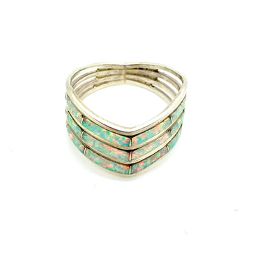 White Opal Inlay Chevron Ring