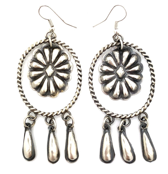 Brushed Sterling Silver Concho Earrings