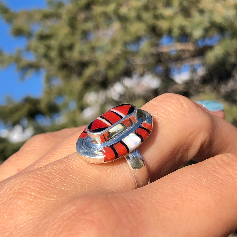 Coral Desert Inlay Ring