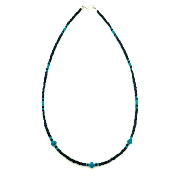 Black & Turquoise Fringe Beaded Necklace