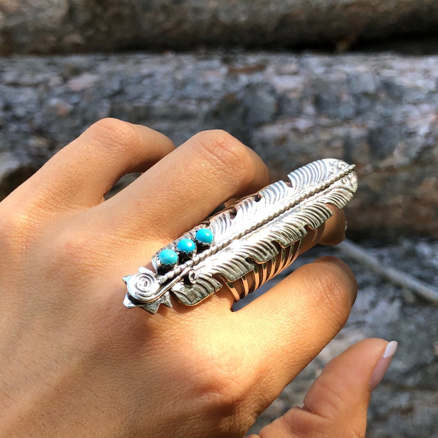 Feather and Turquoise Ring