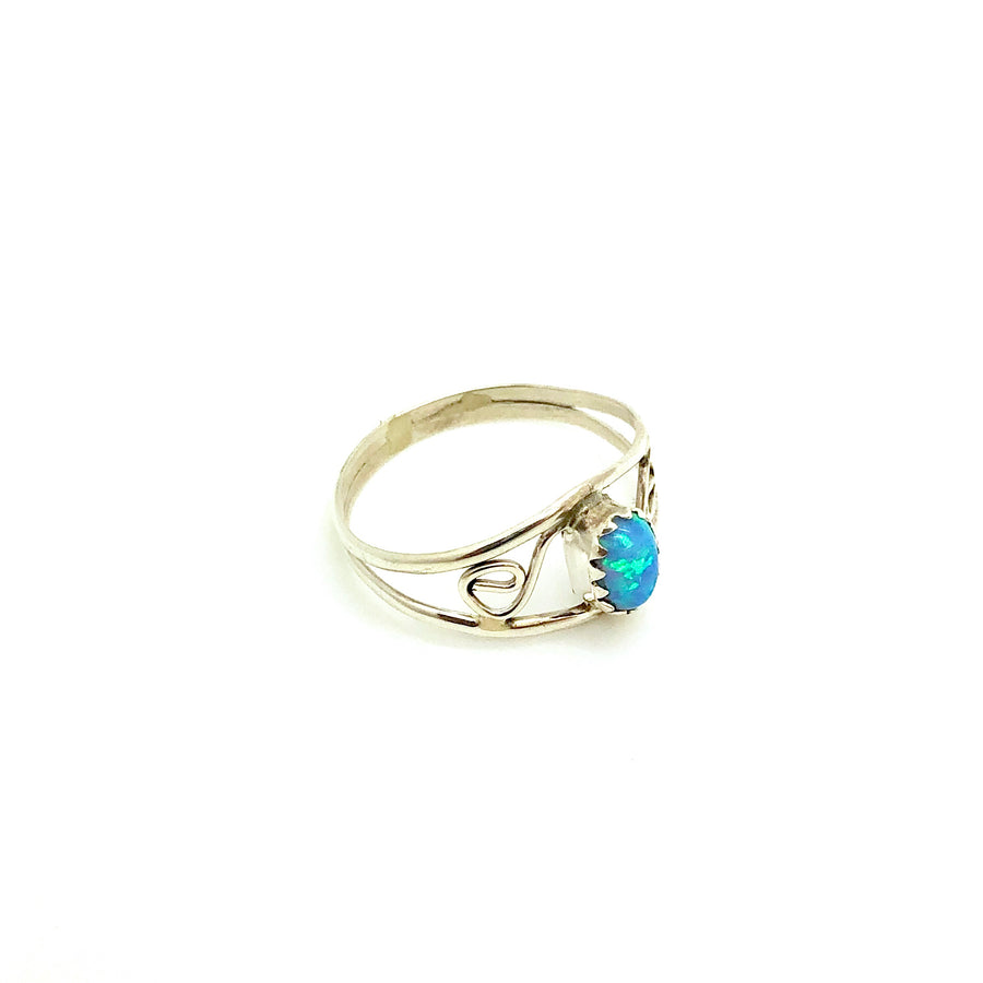 Blue Opal Dainty Band