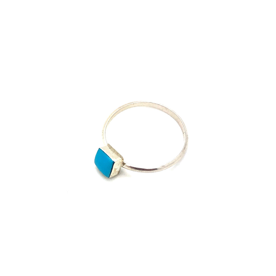 Dainty Square Turquoise Ring