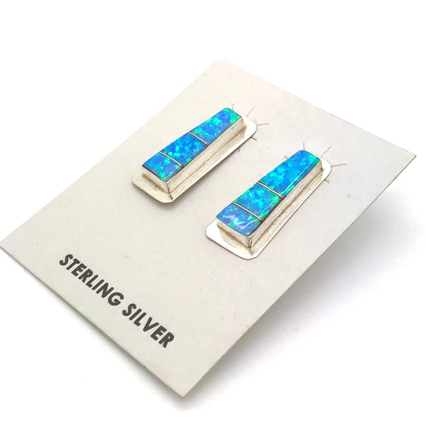 Blue Opal Inlay Earrings