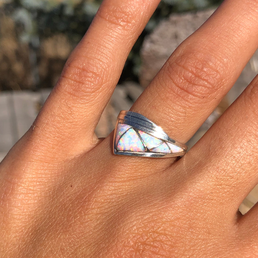 White Opal Lightning Ring
