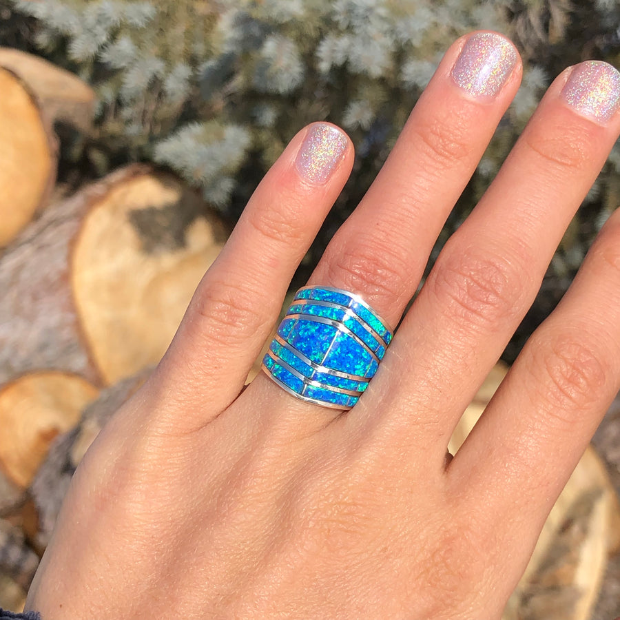 Stacked Blue Opal Ring