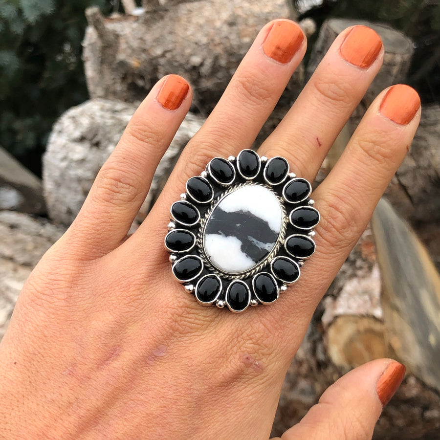 White Buffalo & Onyx Ring